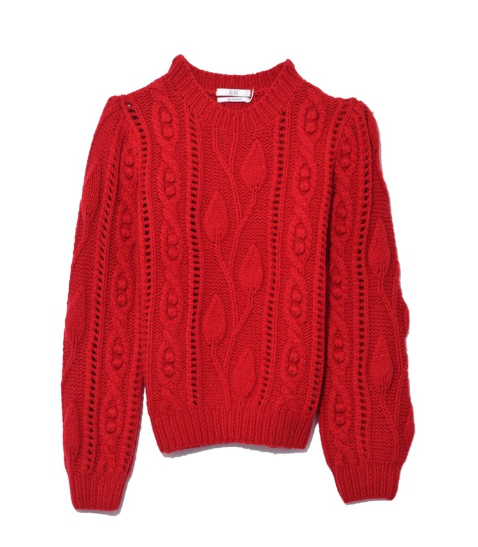 red cable knit cropped sweater