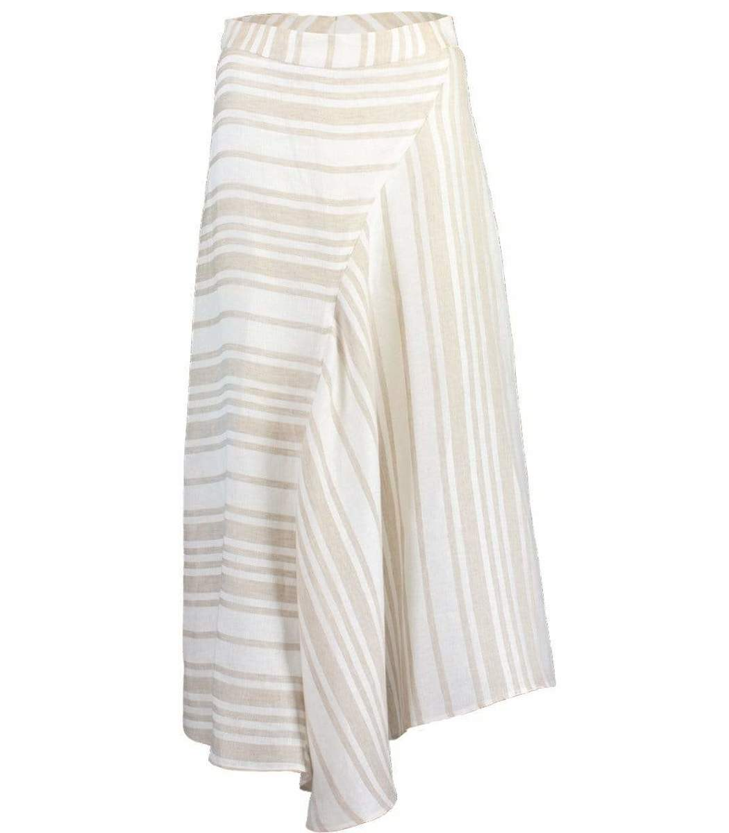 Co A-Line Linen Midi Skirt - Taupe Stripe