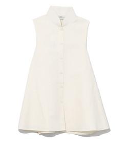 ivory sleeveless linen buttondown shirt