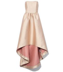 rose gold strapless hi low dress