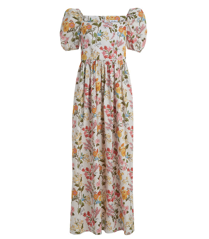 short-sleeve maxi dress in multi floral