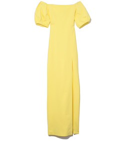 yellow citron reina off the shoulder gown