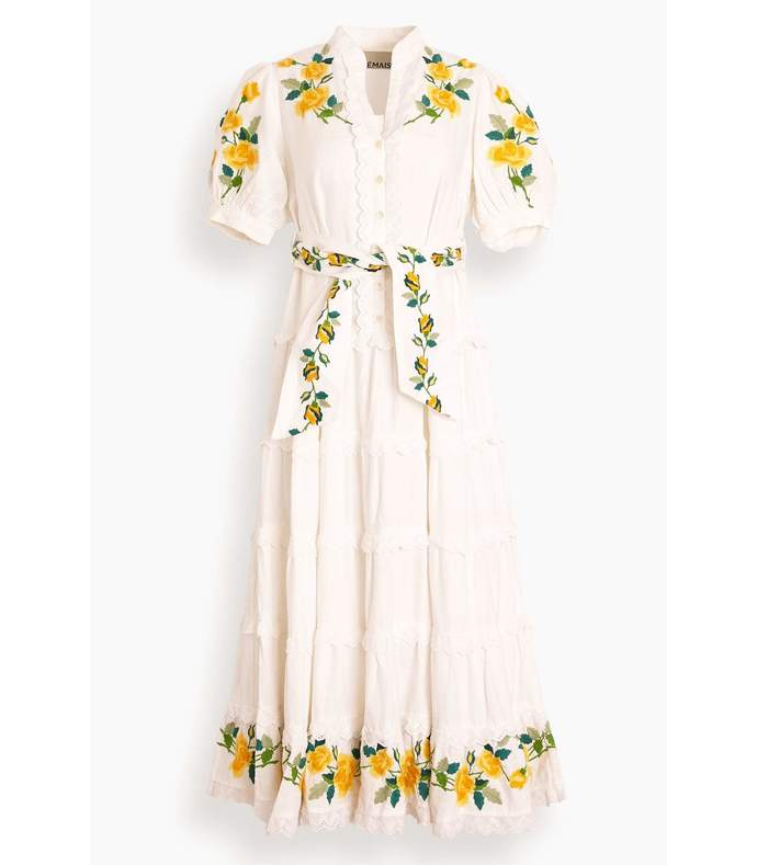 rosa embroidered midi dress in ivory