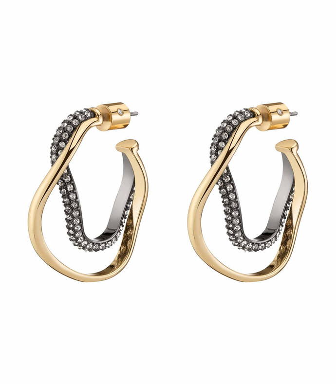 pave crystal curved bi-hoop earring set