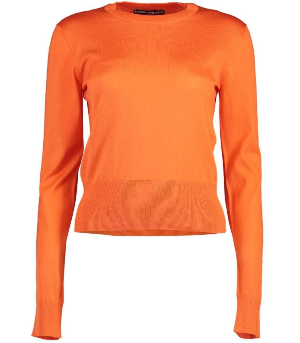 Dolce & Gabbana Mandarine Silk Crewneck Pullover Top
