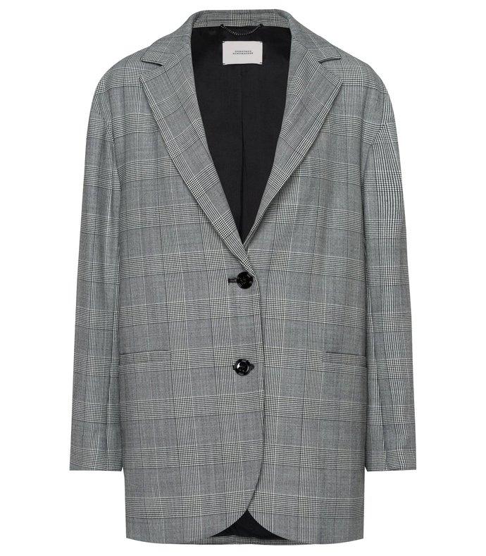 checked motion jacket in black/white glencheck