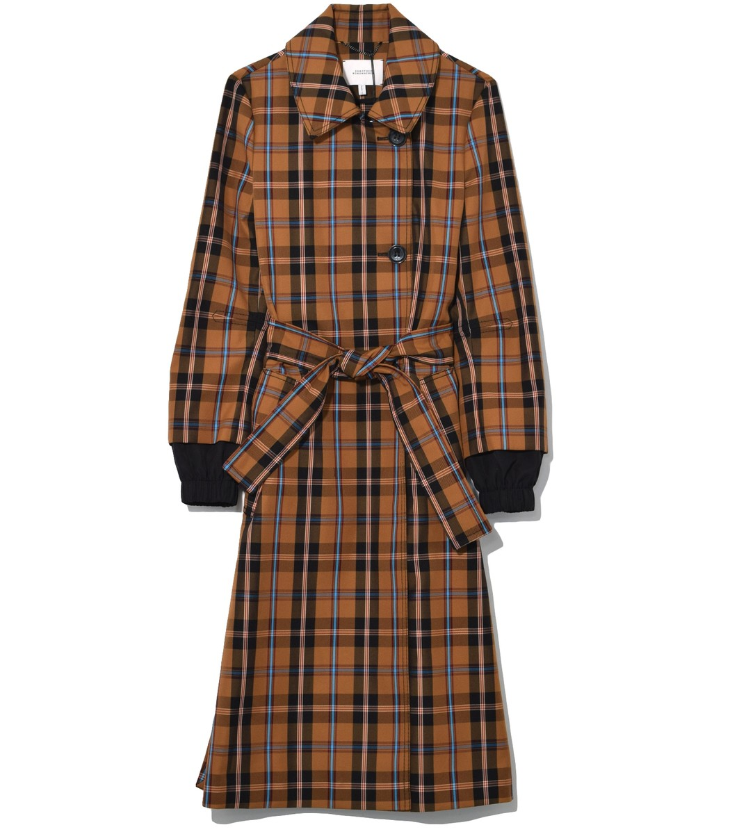 Playful Check Trench Coat in Golden Dust