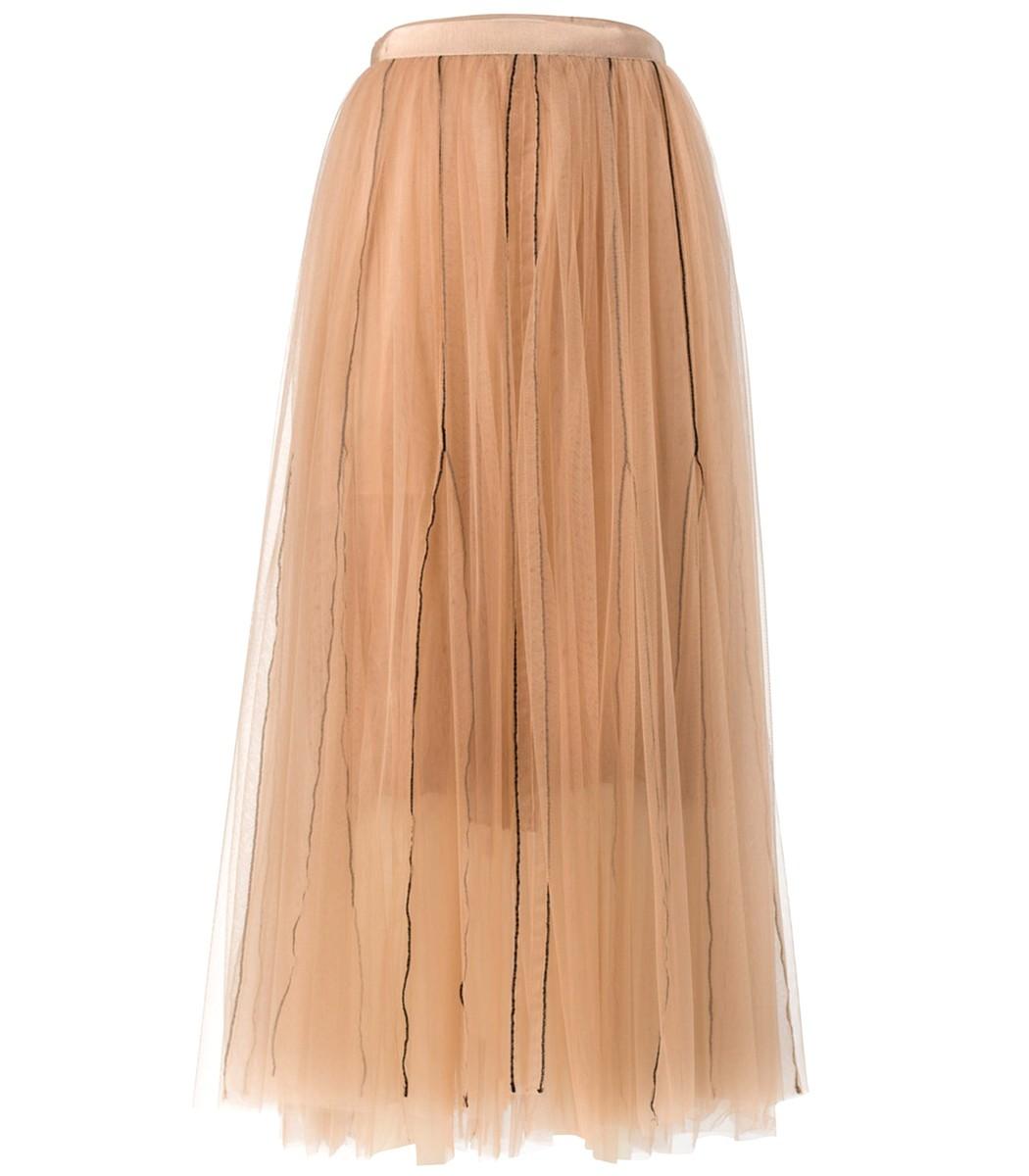 Brown Muted Hazelnut Sensitive Transparency Layered Skirt