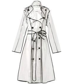 black & white transparent veil coat