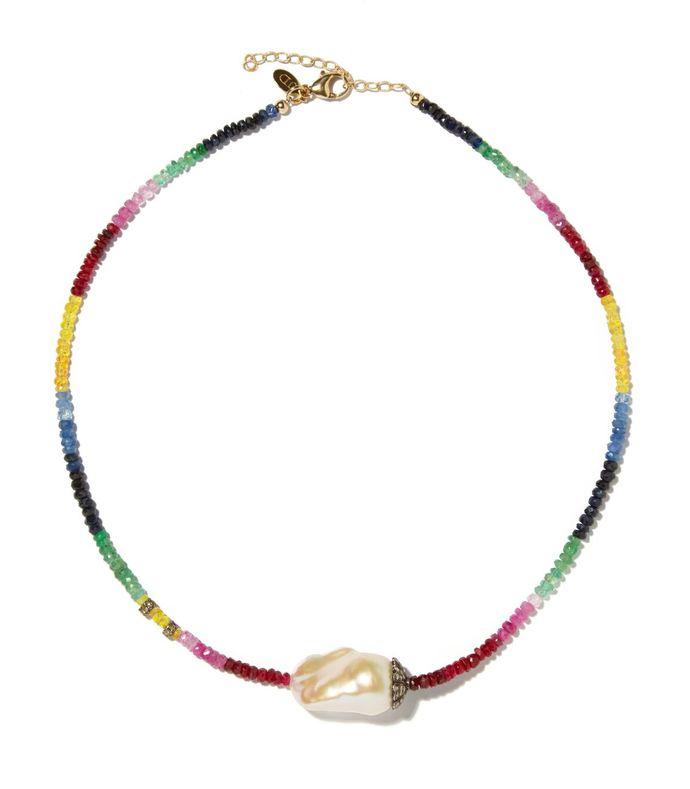 diamond baroque pearl necklace