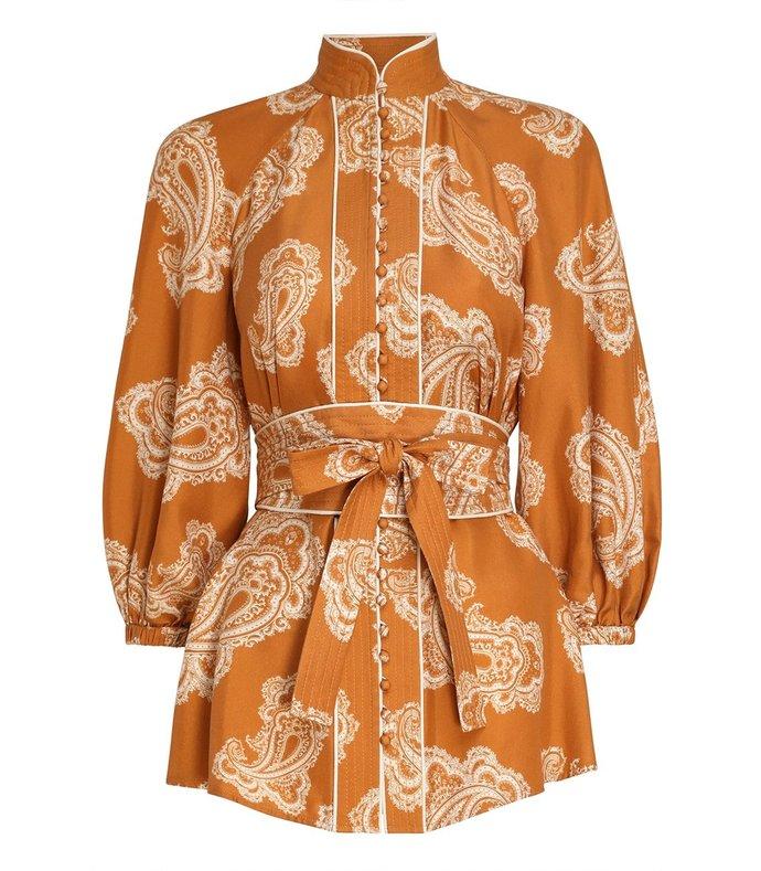wavelength waist tie blouse in gold paisley