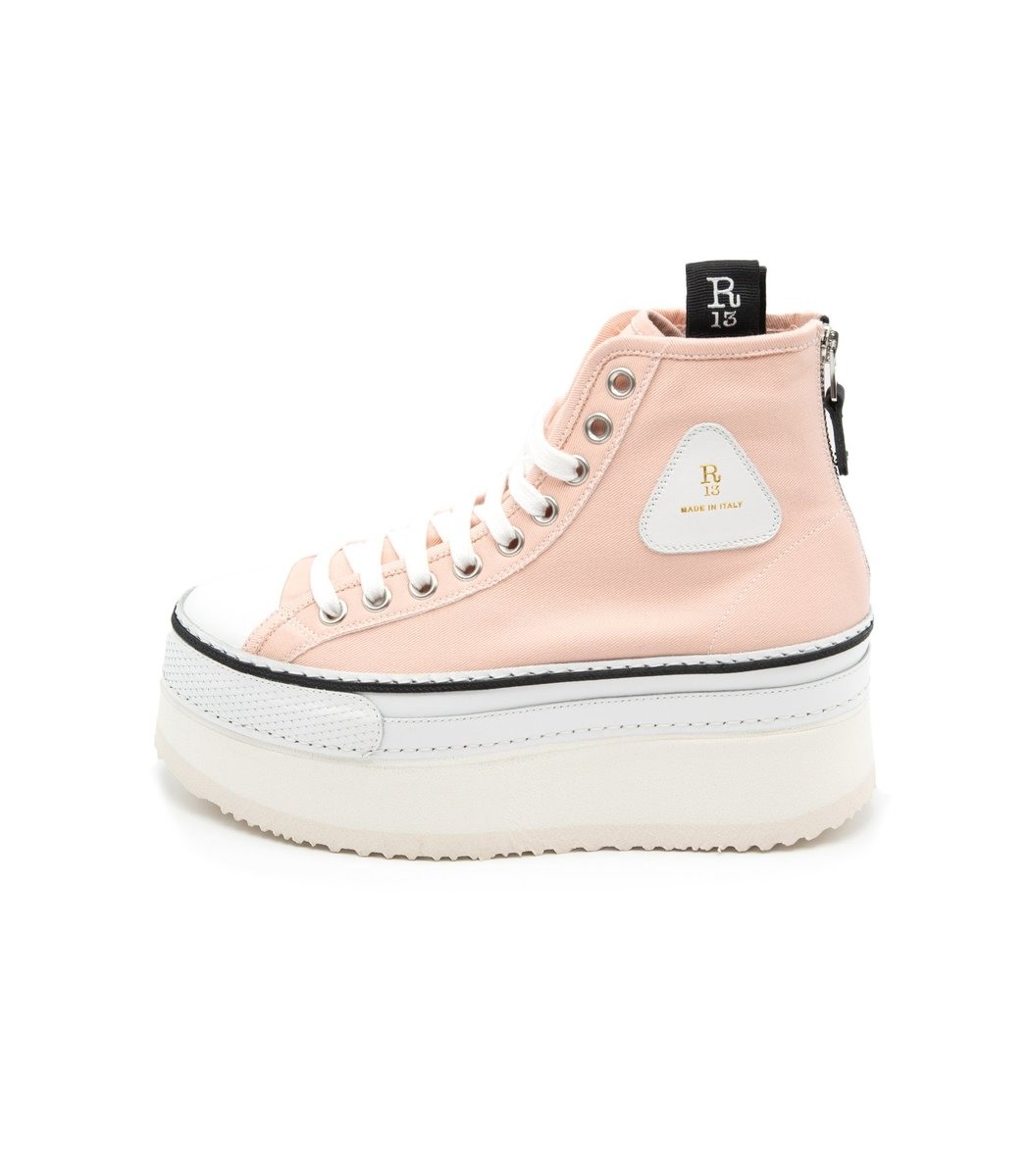 R13 Canvases Platform High Top Sneaker in Pink
