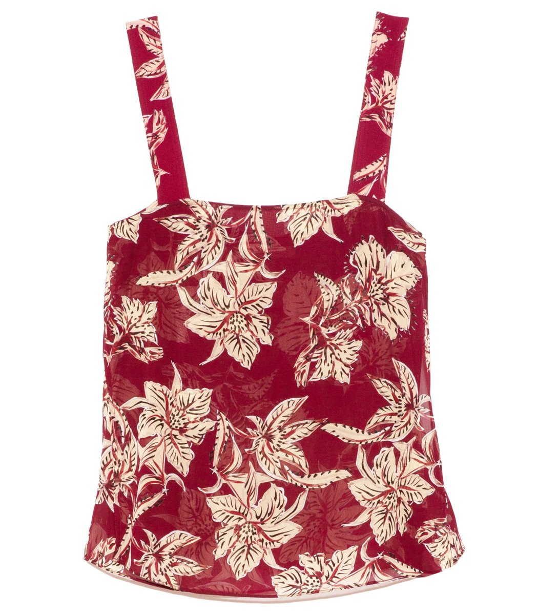 Dorothee Schumacher Tops Translucent Florals Top in Bordeaux/Beige Floral