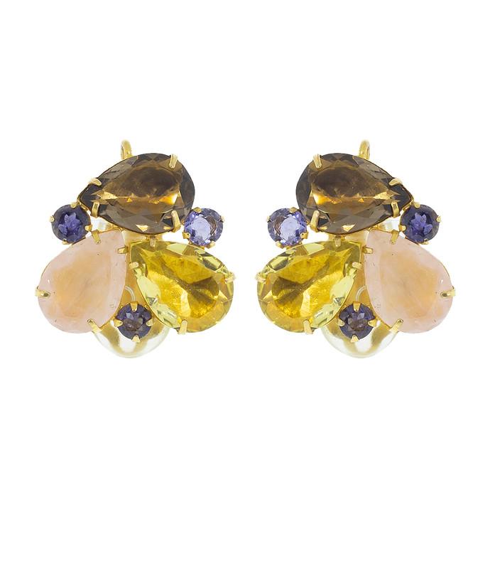 smokey quartz cluster ear clip