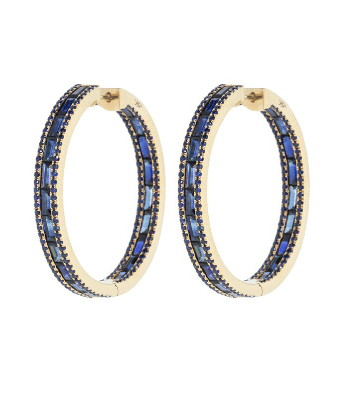blue sapphire baguette hoops