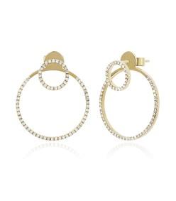 gold diamond halo ear jacket