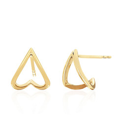 gold chevron huggie earrings