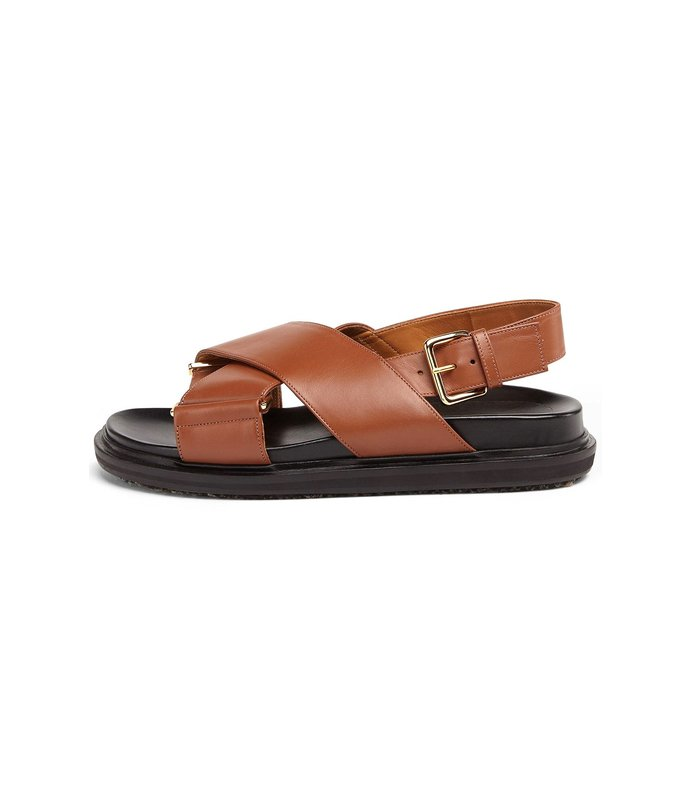 fussbett crossed sandal in maroon
