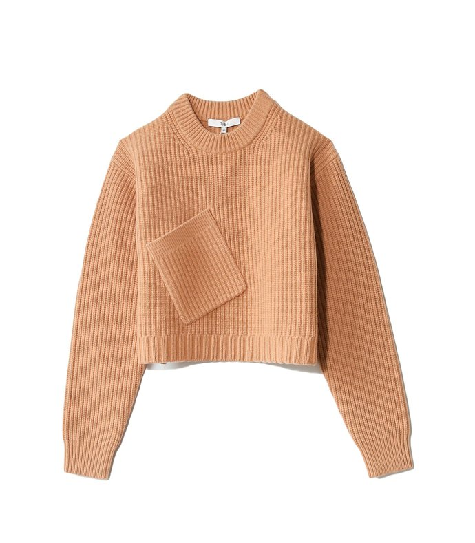 airy extrafine wool cropped pullover in light burlywood