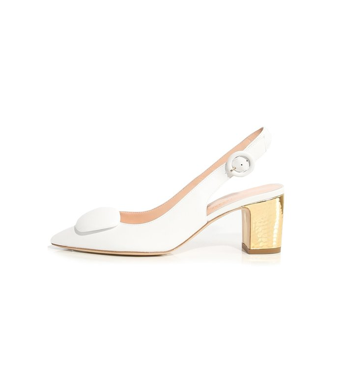 marina leather slingback in white/gold