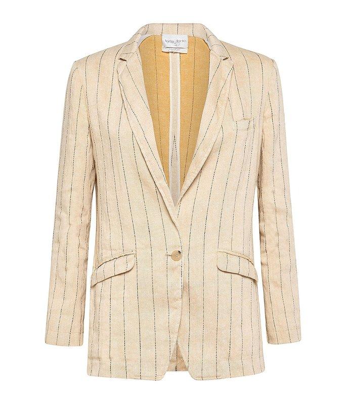pinstripe cotton linen jacket in sand