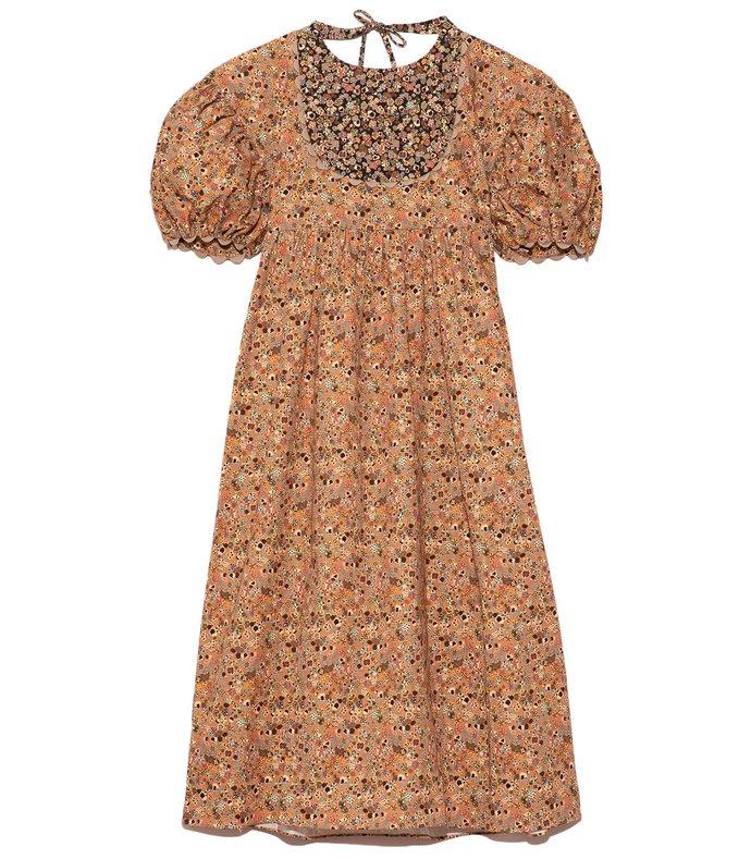 zaha dress in camel mushroom