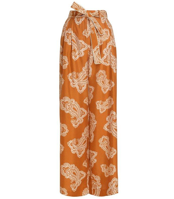 wavelength waist tie trouser in gold paisley