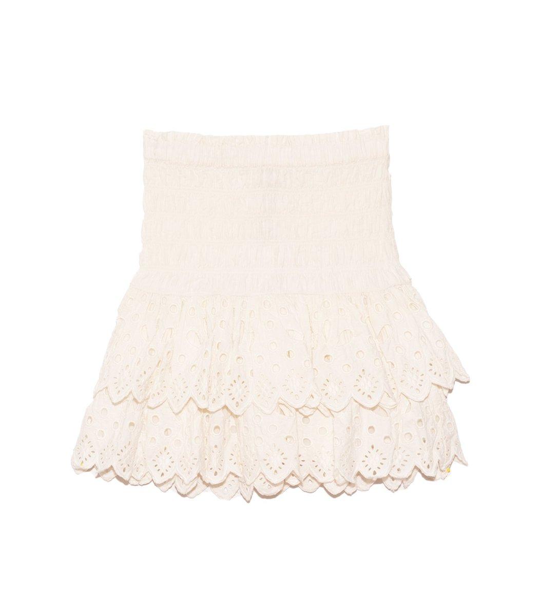 Sea Hazel Eyelet Skirt in White