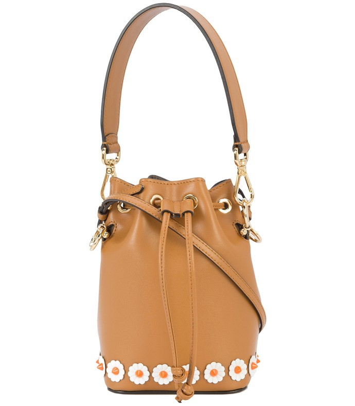 brown mon tresor mini bucket bag