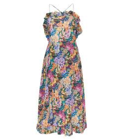 multicolored floral midi dress