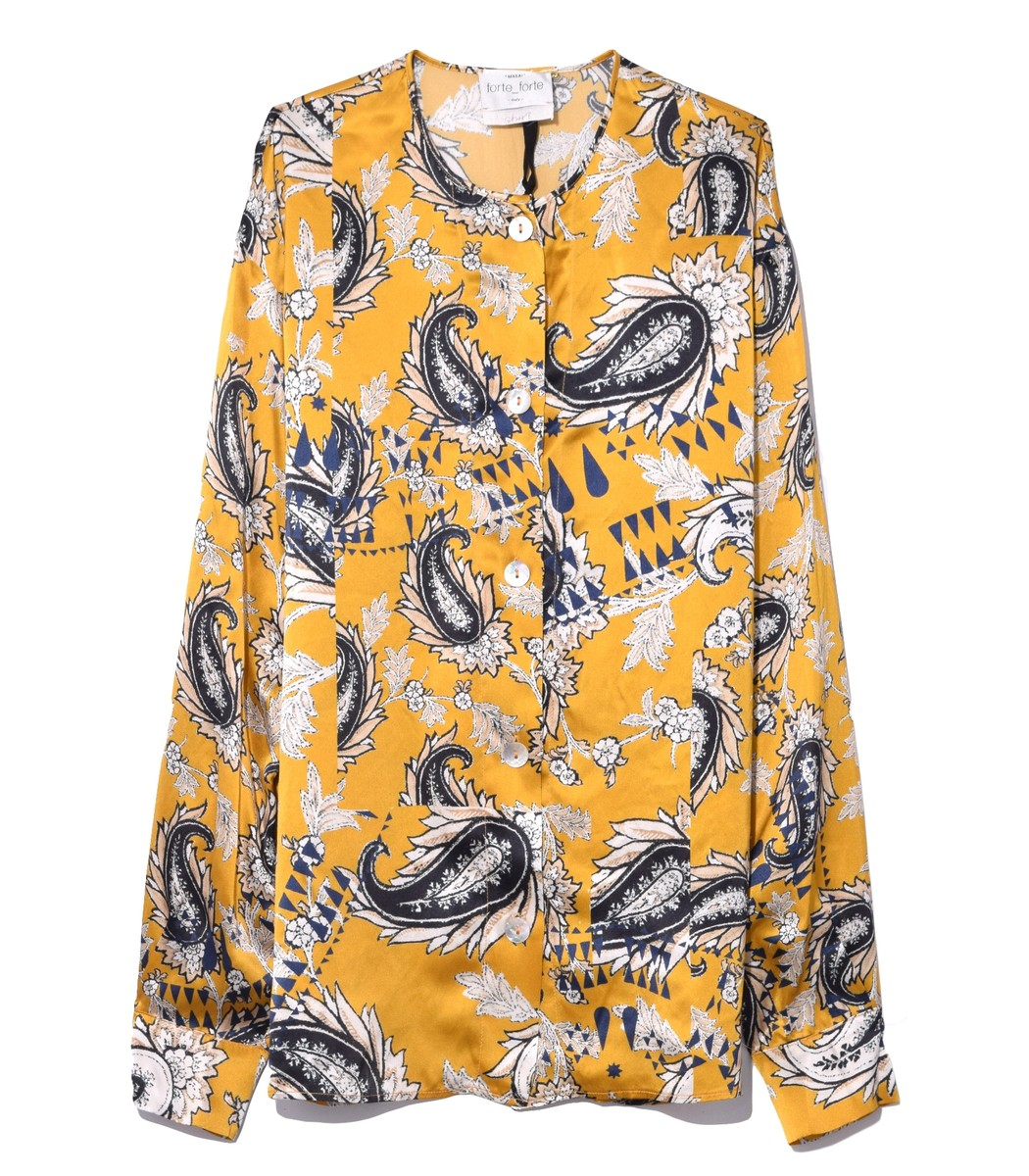 FORTE FORTE Collarless Afrika-Print Silk Button-Front Shirt in Yellow Oro