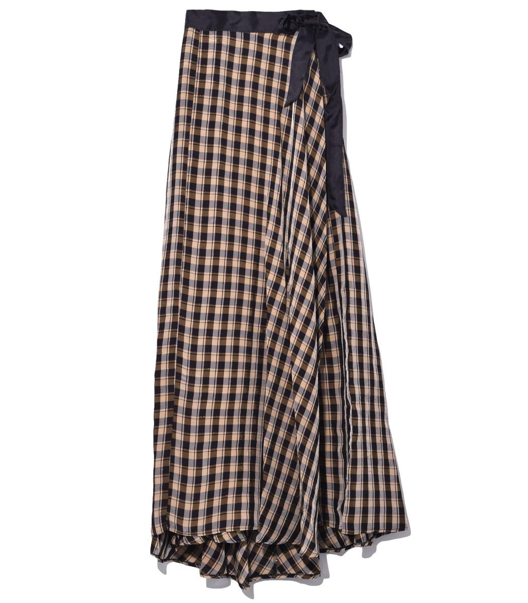 Nero Multicolor Viscose Tartan Long Skirt