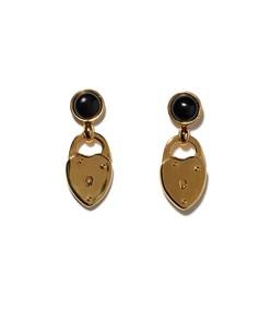 gold onyx locket earrings