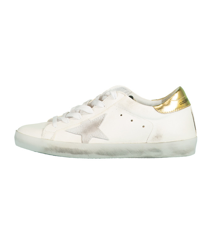 white and gold superstar sneaker
