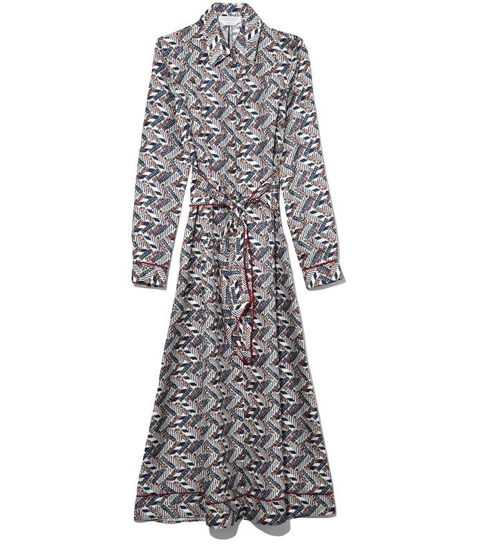 multicolor herringbone print presley dress