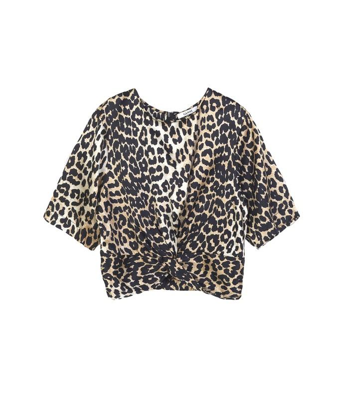 leopard calla silk twist blouse