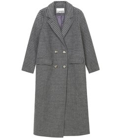 check wool long jacket in charcoal grey