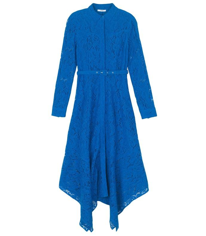 cotton lace maxi dress in lapis blue