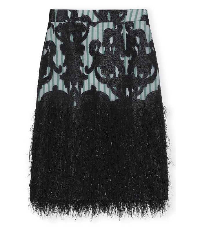 feathery cotton skirt in black