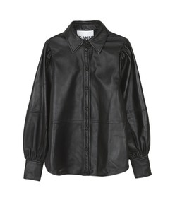 lamb leather shirt in black