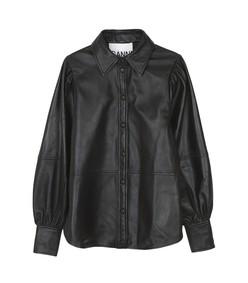 lamb leather shirt in black