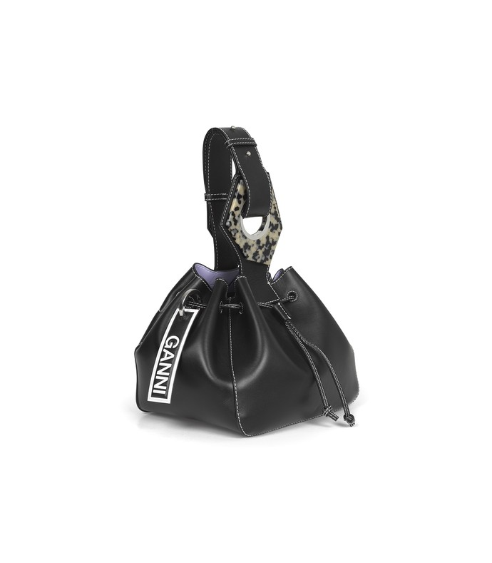 leather small drawstring bag in black