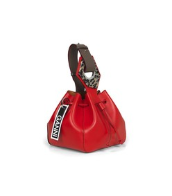 leather small drawstring bag in fiery red