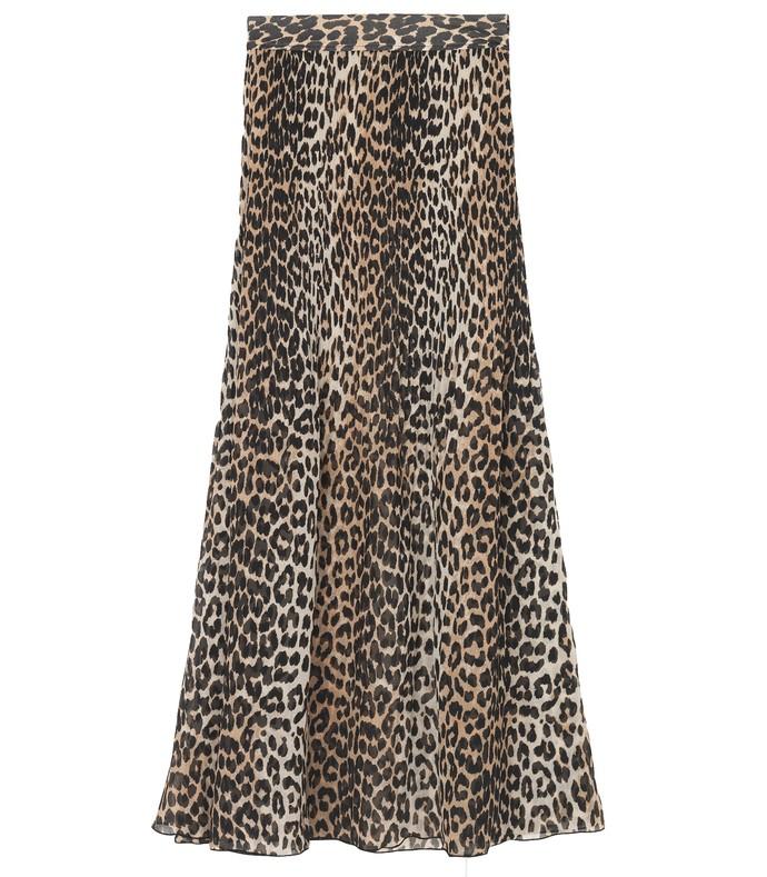 pleated georgette skirt in leopard
