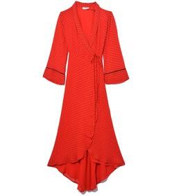 printed georgette wrap dress in fiery red