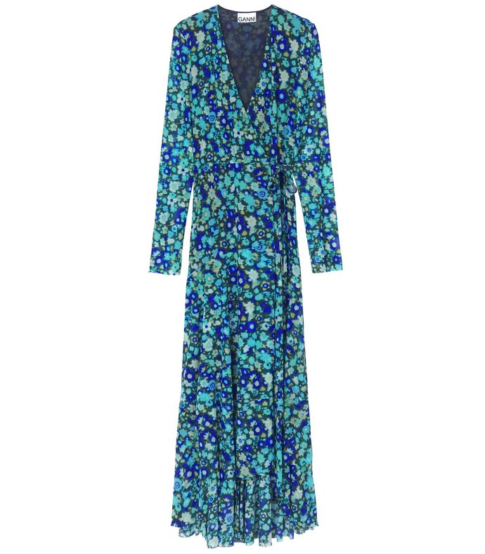 printed mesh wrap dress in azure blue