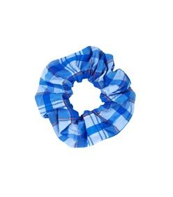 seersucker scrunchie in lapis blue