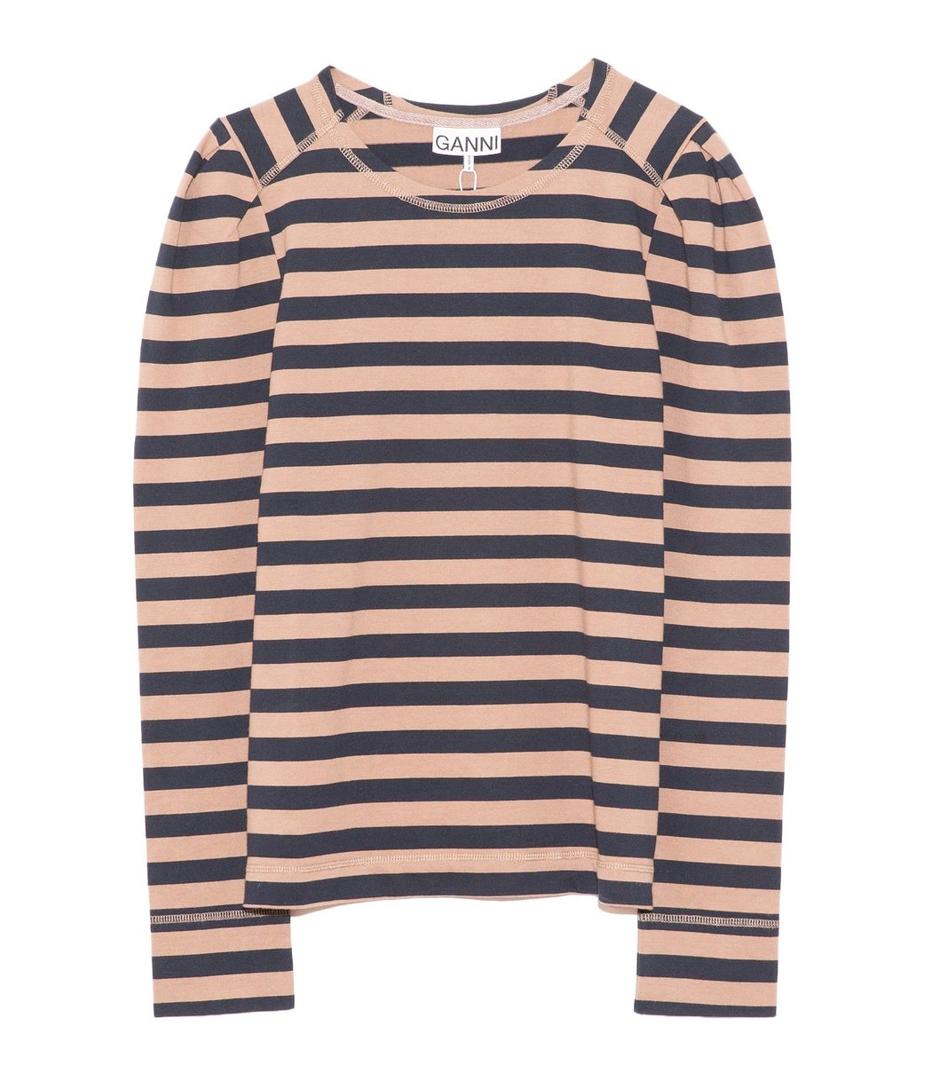 Ganni Cottons Striped Cotton Jersey Tee in Sky Captain