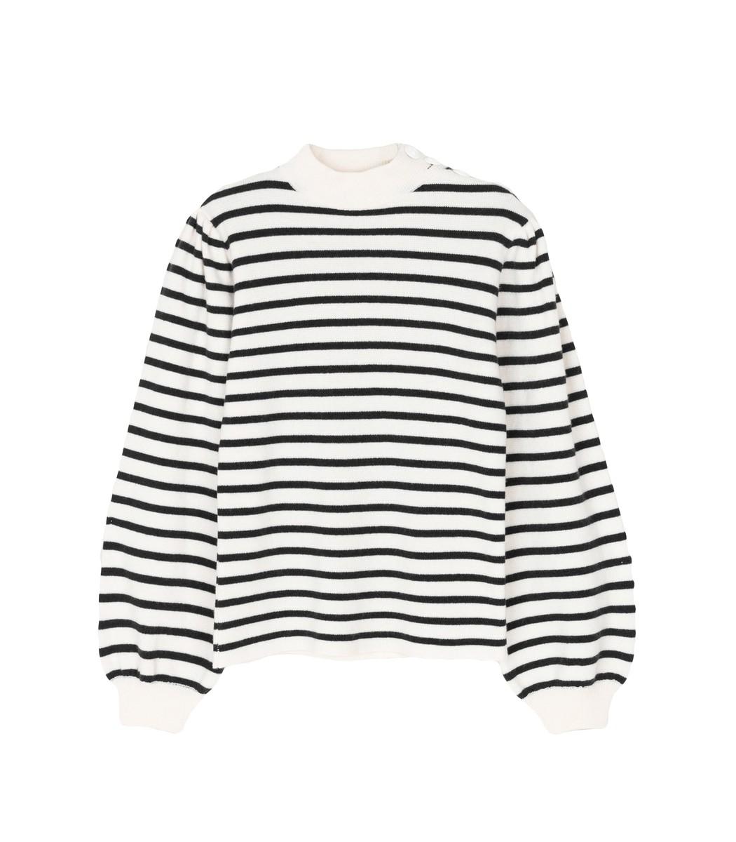 GANNI Black & White Striped Knit Puff Sleeve Pullover