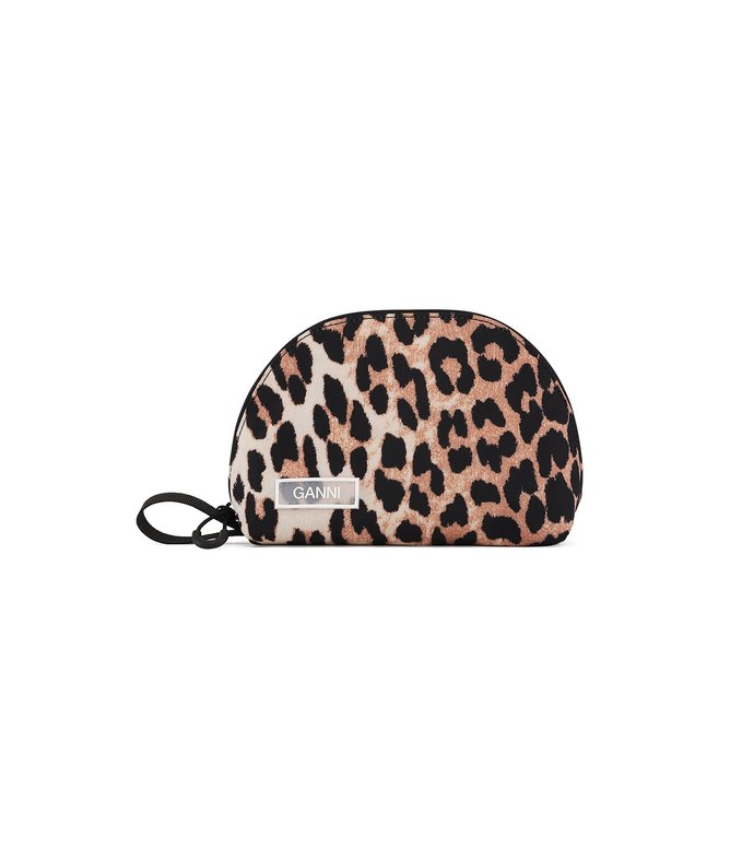 tech fabric small clutch in leopard